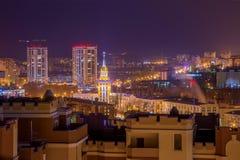 Widok nocy miasto Voronezh Domy, nocy światła Voronezh miasto Zdjęcia Stock