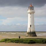 Widok Nowy Brighton lub żerdzi skała, latarnia morska Fotografia Royalty Free