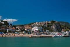 Widok Numana schronienie na Adriatic morzu, Marche region Fotografia Stock