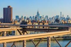 Widok NYC środek miasta od mosta brooklyńskiego, Nowy Jork, usa Obrazy Stock