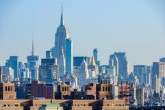 Widok NYC środek miasta od mosta brooklyńskiego, Nowy Jork, usa Obraz Royalty Free