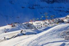 Widok ośrodek narciarski Jungfrau Wengen Obraz Stock