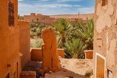 Widok oaza pod fortecą Ait Ben Haddou Obrazy Royalty Free