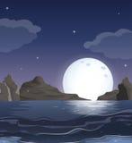 Widok ocean po środku nocy Zdjęcia Royalty Free