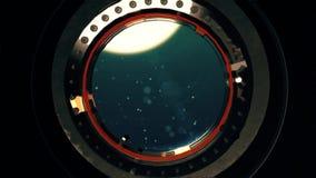 Widok od łodzi podwodnej lub bathyscaphe głębokiego oceanu porthole zbiory