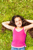 Widok od above ładna dziewczyna z długie włosy Fotografia Stock