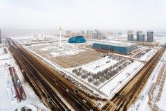 Widok od above na niezależność kwadracie od pałac twórczość, pałac niezależność i zabytku w Astana, Kazachstan Zdjęcia Stock