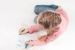 Widok od above rysunkowa mała dziewczynka Fotografia Stock