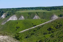 Widok od above wzgórza kreda w środkowym Rosja obrazy stock