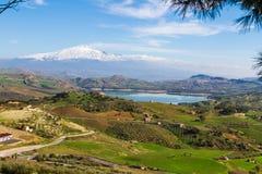 Widok od Agira Pozzillo jezioro Obraz Royalty Free