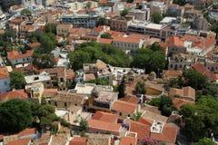 Widok od akropolu na Ateny mieście i Plaka terenie zdjęcia stock