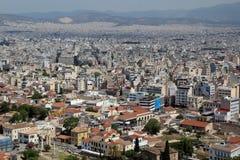 Widok od akropolu na Ateny mieście i Plaka terenie Zdjęcie Royalty Free