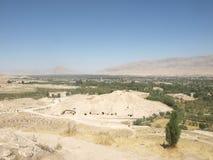 Widok od Buddyjskiej stupy Takht-e Rostam blisko Balkh Zdjęcie Royalty Free