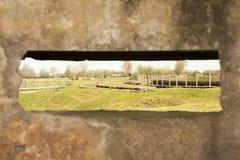 Widok od bunkieru pillbox wielkiej wojny światowa 1 Flanders Belgium obrazy stock