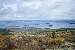 Widok od Cadillac Acadia Halnego parka narodowego w jesieni Zdjęcia Stock