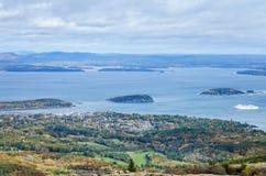 Widok od Cadillac Acadia Halnego parka narodowego w jesieni Zdjęcie Stock