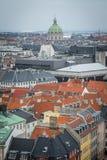 Widok od Christiansborg kasztelu wierza Puszka miasteczko Kopenhaga Dani obraz stock