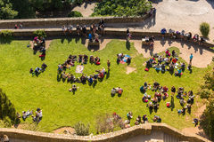 Widok od ścian Mont saint michel, Francja Zdjęcia Royalty Free