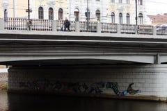 Widok od Cluj Napoca z wielkim mostem nad Somes zdjęcie royalty free
