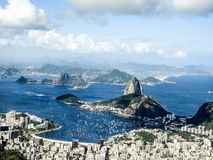 Widok od Cordova góry Sugarloaf góra i miasto Rio De Janerio, Brazylia Zdjęcie Royalty Free