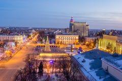 Widok od dachu Zmierzch na rzecznym Peregolya, Kaliningrad, R Obrazy Royalty Free
