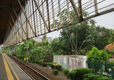 Widok od Depok staci naprzód zielony krajobraz z bagno krzaków i drzew fotografią brać w Depok Indonezja Zdjęcia Royalty Free