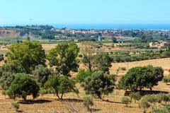 Widok od doliny świątynie, Agrigento, Sicily, Włochy Obraz Royalty Free