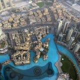 Widok od drapacza chmur puszka na mieście w Dubaj Zdjęcie Royalty Free