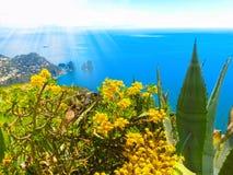Widok od falezy na wyspie Capri, Włochy i skały w morzu, Obrazy Royalty Free