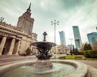 Widok od fontanny na pałac kultura Zdjęcie Royalty Free