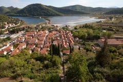 Widok od fortecy Ston nad miasteczkiem, Peljesac, Chorwacja zdjęcia royalty free