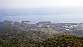 Widok od gór morze śródziemnomorskie Zdjęcie Stock