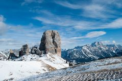 Widok od 5 Góruje Cortina d ` Ampezzo, Włochy obrazy royalty free