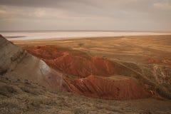 Widok od góry Bogdo Jeziorny Baskunchak, Rosja obrazy stock