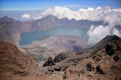 Widok od góry Rinjani, brać z rybiego oka obiektywem, góra Rinjani jest aktywnym wulkanem w Lombok, Indonezja fotografia royalty free