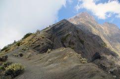 Widok od góry Rinjani, brać z rybiego oka obiektywem, góra Rinjani jest aktywnym wulkanem w Lombok, Indonezja obraz stock