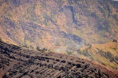 Widok od góry Rinjani, brać z rybiego oka obiektywem, góra Rinjani jest aktywnym wulkanem w Lombok, Indonezja obraz royalty free
