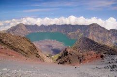 Widok od góry Rinjani, brać z rybiego oka obiektywem, góra Rinjani jest aktywnym wulkanem w Lombok, Indonezja fotografia stock