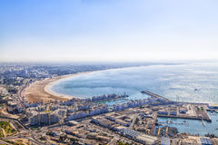 Widok od góry z starym kasbah zatoka Agadir Zdjęcia Stock