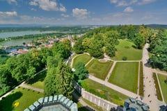 Widok od główny wierza hlubokà ¡ kasztel Hlubokà ¡ nad Vltavou cesky krumlov republiki czech miasta średniowieczny stary widok obrazy stock