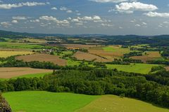 Widok od grodowego Trosky krajobraz Zdjęcie Stock