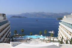 Widok od hotelu ocean i góry Lopud wyspa, Chorwacja panorama obraz stock