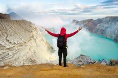 Widok od Ijen krateru, siarka opar przy Kawah Ijen, Vocalno w Indenesia fotografia royalty free