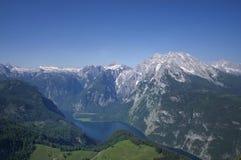 Widok od Jenner na jeziornym Konigssee, Niemcy Obrazy Stock