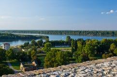 Widok od Kalemegdan fortecy zbieżność Danube i Sava rzeka, Belgrade Fotografia Royalty Free