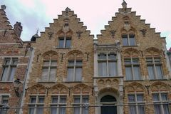 Widok od kanału w Bruges Zdjęcie Stock