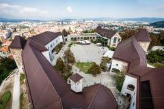 Widok od kasztelu Ljubljana, Slovenia cityscape zdjęcie stock