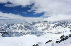 Widok od Klein Matterhorn 3.883 m pokazuje wysokich szczyty Szwajcarscy Alps Valais, switzerland fotografia royalty free