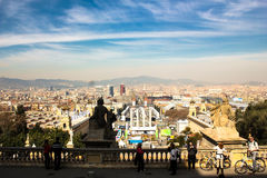 Widok od Krajowego pałac Montjuic, Barcelona Zdjęcie Royalty Free