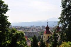 Widok od Kreuzbergl na Klagenfurt, Austria obraz royalty free